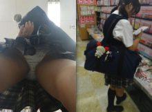 幼いパンツ派手なパンツ…女子高生のプライベート下着がまる見え!スカートの中を隠し撮りした逆さ撮りパンチラ画像