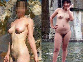 温泉旅行で裸の記念写メを撮った女友達オッパイ丸出しマン毛丸見え全裸姿を投稿だってぇー