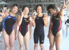 【画像あり】女子水泳部の競泳水着が弾けそうなむちむちの肉体がエロすぎてかなわんwww