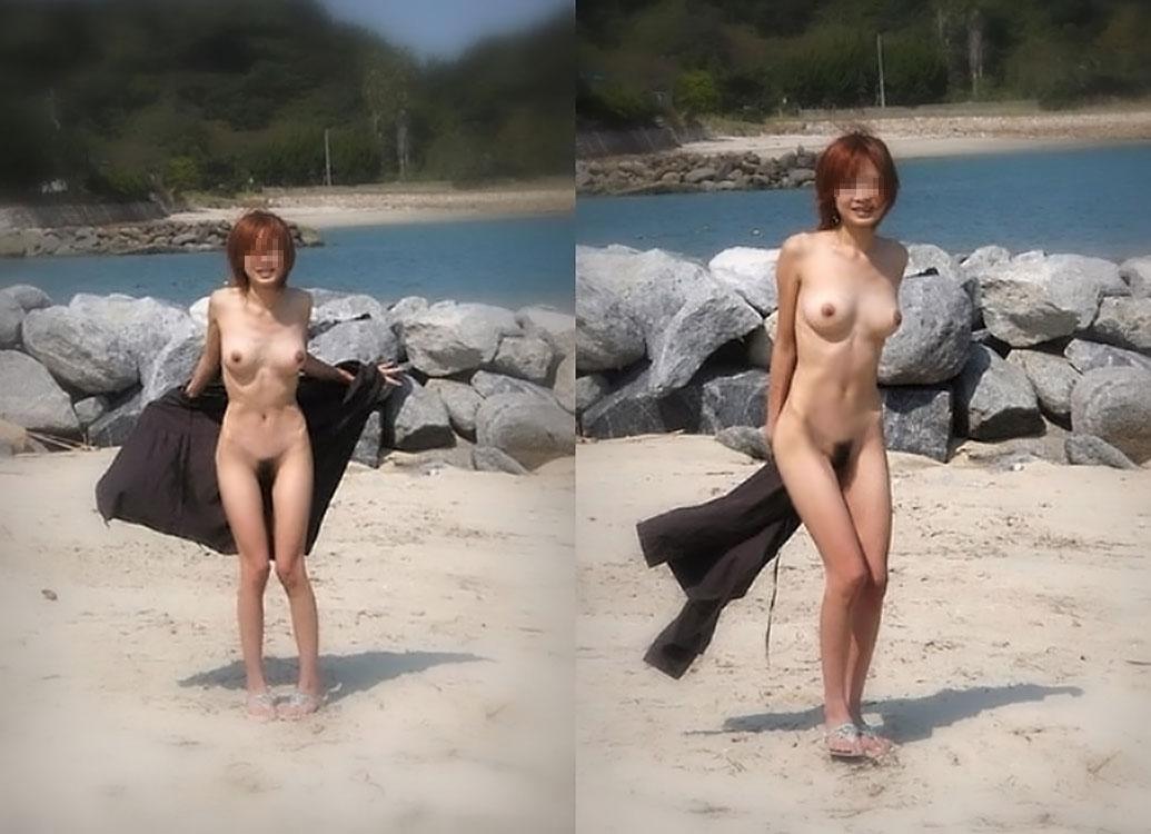 【野外露出エロ画像】へー日本にもヌーディストビーチがあったんだ(; ̄ゝ ̄)トオイメ...タダの露出狂な件www その1