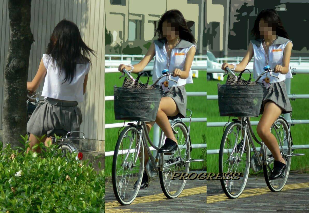 【自転車パンチラエロ画像】自転車で通学する女子高生のキワドイ足元から目が離せねーwww その2