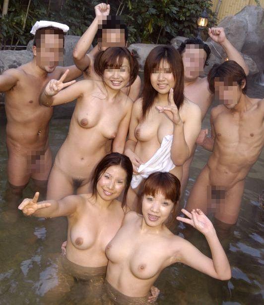 【混浴温泉エロ画像】素人乱交サークルの温泉オフ会が想像通りすぎてワロタwwww その15