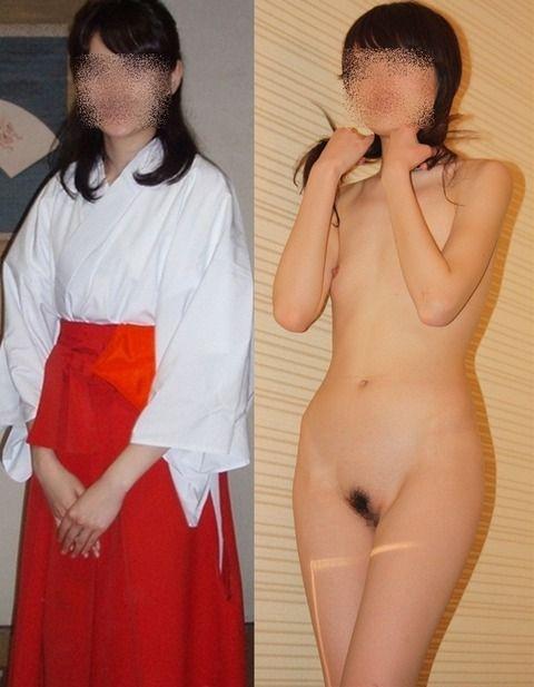 【着衣とヌード比較エロ画像】これぞ女の子の使用前・使用後www着衣と裸の画像を並べると恐ろしく抜けるwwww その15