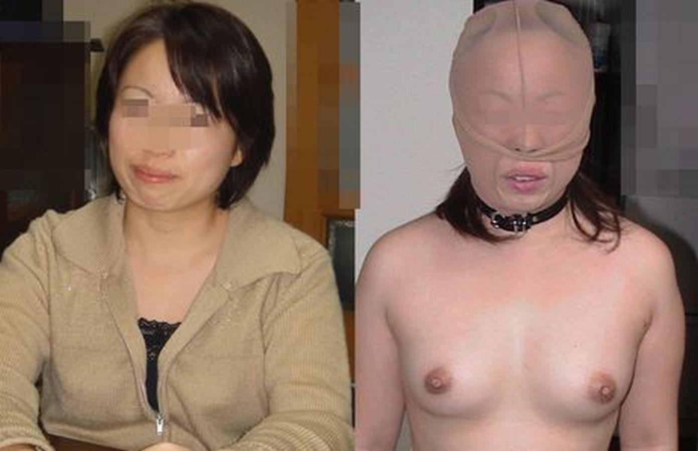 【着衣ヌード比較エロ画像】出会い系で不倫するようなおばさんにはお似合いの末路…着衣と裸を晒される人妻さんwwww その5