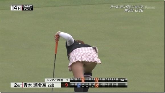 【女子ゴルフエロ画像】どうせアンスコだろ?それでも興奮する女子プロゴルファーの股間!鍛えられた太ももがエロいぜぇwww その7