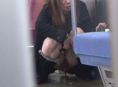 コレってガチで逮捕されたヤツだろ?露出癖拗らせた女が列車内で小便してるぞwwwwwwww