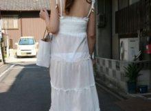 【白ワンピ透けパン画像】暖かくなってこういう服を着ちゃう女は痴女確定!?白のワンピがブラもパンツも透け透けやで~www(15枚)