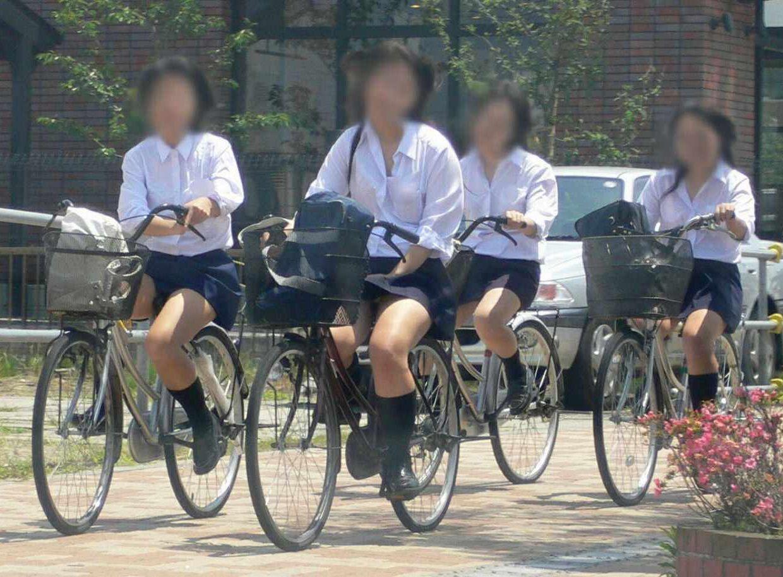 【ミニスカ自転車エロ画像】自転車通学中の女子●生…きわどい太ももを見てるだけでも勃起しそうwww