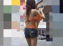 【街撮りエロ画像】日本じゃなければレ●プされるぞ!?背中まる出し過激ファッション…夏が待ちきれねーwww