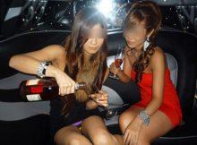 【女子会パンチラ画像】パリピなギャルたちがほろ酔い加減でパンチラしまくるリムジン女子会画像