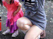 【子連れママエロ画像】産後の下半身がちょー卑猥!!こんな奥さんと不倫したくなる子連れママの街撮りエロ画像