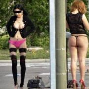 【売春婦エ□画像】真っ昼間から堂々と客引きする売春婦の過激な姿にぼ●きしそうw