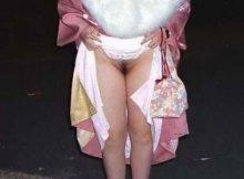 【ノーパンエロ画像】パンティーラインが透けるのは恥ずかしいから…着物や浴衣のときはノーパンです!!