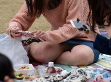【花見パンチラ画像】シーズン到来!お花見に夢中な女の子の股間はガバガバ!リアルなパンチラが興奮するお花見画像